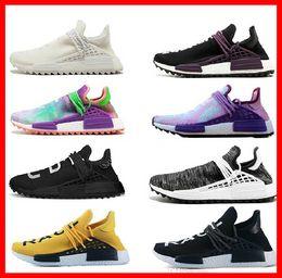 0b3811e4188aa 2018 Human Race pharrell williams Hu trail Cream Core Black nerd Equality  holi nobel ink trainers Mens Women Sports Sneakers Running Shoes
