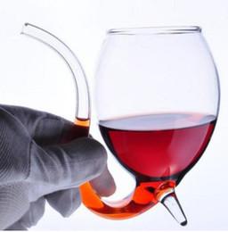 2019 boissons au vin rouge Creative 300ml 2 Pcs Diable Vin Rouge En Verre Tasse Transparente Avec Intégré à Potable Tasse D'eau Tasse D'eau pour La Maison Bar Hôtel boissons au vin rouge pas cher