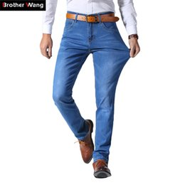 b86491fc3bf15 2018 Summer New Men s Thin Light Jeans Business Casual Stretch Slim Denim  Jeans Light Blue Trousers Male Brand Pants Plus Size S913