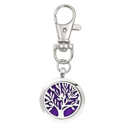 Wholesale Lobster Clasp Key Chain - Tree of life Key Chain Essential Oil Aroma Diffuser Perfume Locket with Lobster clasp Keychain keyring 5pcs Pads color randomly K64-K73