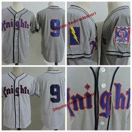 nouveau maillot de baseball pas cher Promotion Pas cher N ° 9 Roy Hobbs York Knights The Natural White White Movie Couts Baseball Jerseys Roy Hobbs Chemises 1939 100ème Patch Centennial de Baseball