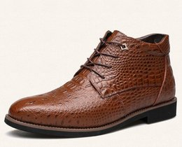 2019 botas de hombre formal Botas de invierno de los hombres Botas de tobillo de los hombres de piel espesa caliente Moda de negocios de oficina formal zapatos de cuero 1nx35 rebajas botas de hombre formal