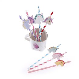 Wholesale Kids Party Paper Bags - 10pcs bag Unicorn Drinking Straws Party Supplies Cartoon Unicorn Straws Birthday Decoration Baby Shower Theme Festival For Kids