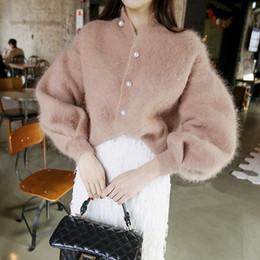 Cardigan maglione mohair online-2018 New Beading Cardigan donna monopetto Maglioni inverno coreano Maglioni Elegante cappotto Mohair vintage