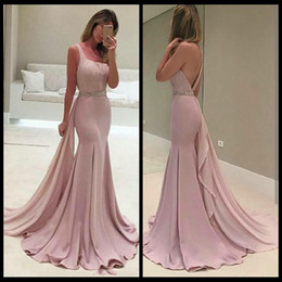 Wholesale Online Beading - Simple Satin Long Prom Dresses With Beads Scoop Mermaid Evening Gowns Backless Formal Women Special Occasipn Prom Party Gowns Online