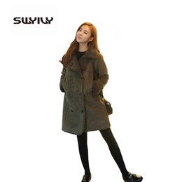 Wholesale Lined Army Green Jacket Women - Woman Winter Long Over Size Fur Coat ,Composite Lamb Fur Lining Suede Jackets ,Warm Leather Coat Army Green 2xl