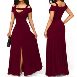 Argentina 2018 Otoño Vestidos para mujer Royal Blue Cold Shoulder Front Slit Flare Maxi Vestido largo Vestido Festa Evening Party Dress Suministro