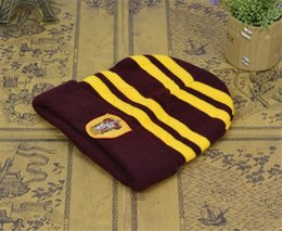 Harry Potter College Beanies Winter Adult Kids Knit Hat Ravenclaw  Gryffindor Slytherin Hufflepuff Skull Caps Cosplay Hats Striped Badge Caps 169945ac7bb4