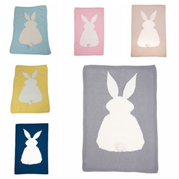 Wholesale Baby Girls Bedding - Knit Baby Swaddle Blankets Newborn Blanket Children Boys Girls Air Conditioner Knitting Bunny Blanket Rabbit Wool Quilt Bedding