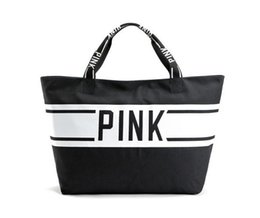 Wholesale Wholesale Tote Bag Luggage - 2 Colors Pink Letter Womens Duffel Bags Travel canvas Handbags Lage Travel Bag Mommy Bag Folding Bags LJJY967