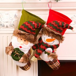 Wholesale Cloth Bags Candles - Cute Christmas Decoration Gift Stockings Candy Bag Xmas Tree Hanging Ornaments