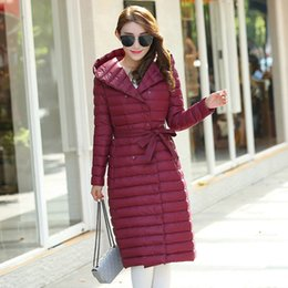 224ad79564d Plaid Quilted Down Portable Women Long Parkas Hooded Sashes Bow Tie Solid  Slim Female Jacket Coats 2018 Winter Women s Warm Coat