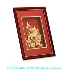 Wholesale wealth flower - 24K Pure goldfoil present Beautiful gold flower Romantic birthday gift Home furnishing Marriage decoration Art craft ornament Wall Paintings