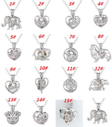 Wholesale Elephant Locket Pendant - New!!!New!New!Love Wish Pearl Cages Locket Necklace Hollow Out Oyster Freshwater Pearl Elephant Life Tree Love DIY Mother's Day Jewellery
