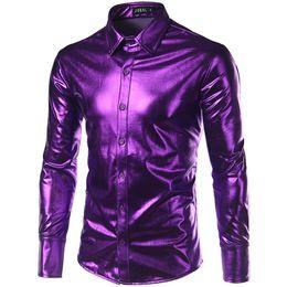 Wholesale men long sleeve shiny shirt - Night Club Wear Men 'S Elastic Shirts Slim Fit Fashion Metallic Shiny Shirt Mens Shirts Long Sleeve Chemise Homme Clothing