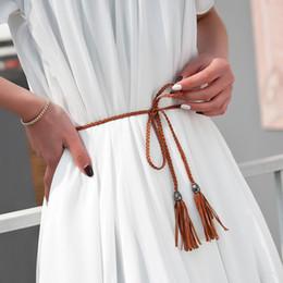 Dame Girls Fashion Hand stricken geflochtene Quaste Design Gürtel lange