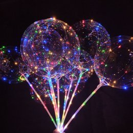 luces de navidad globos Rebajas Globos LED de fiesta luminosa de 20 pulgadas de Navidad Globos de iluminación intermitente de color transparente con decoraciones de fiesta de bodas de poste de 70 cm
