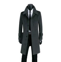 2019 grau wollmantel männer Lange Wollmantel Männer Einreiher Trenchcoats Mantel Herren Kaschmir Mantel Casaco Masculino Inverno Erkek England grau schwarz