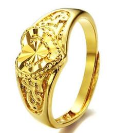 Позолоченные королевы ювелирных изделий онлайн-Европейские американские женщины ювелирные изделия сердце имитация 18-каратного позолоченного кольца Рождество леди королева фестиваль подарок партии любви