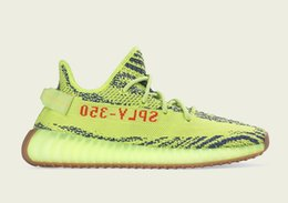 Wholesale Day Light Running - Semi frozen yellow 350 v2 running shoes free shipping store Kanye West shoes Drop Shipping US5-US13