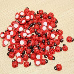 Wholesale Wooden Ladybug - Cute Red Ladybug 1000Pcs Wooden Ladybird Wall Sticker Children Kids Painted Adhesive Fridge Magnet DIY Craft Home Decorations