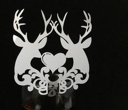 2019 tarjetas de navidad Tarjetas de copas de vino para navidad Elk Tarjetas para vasos de papel para bodas Fiesta de Navidad Decoración navideña de varios colores tarjetas de navidad baratos