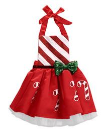 Красное рождественское платье для девочки онлайн-2018 Canis Newborn Infant Baby Girls Christmas Jumpsuit Costume Striped Xmas Outfit Party Bowknot Red Neck Dress ZX