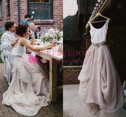 Wholesale chiffon dreses - 2018 Summer Garden A Line Wedding Dreses White Top Blush Bottom A Line Beaded Crystal Sash Chic Rustic Bridal Gown Custom Made Hot Sale
