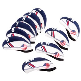 Wholesale Iron Headcovers - Golf Club Iron Head Covers 10 Pcs Neoprene Golf Headcovers Set Protector (White With Blue US Flag) One size Fit All Irons Clubs