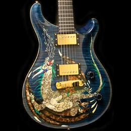 Guitarra eléctrica superior azul online-Rare 1999 Paul Reed Dragon 2000 # 30 Trans Blue Flame Maple Top Guitarra eléctrica Sin incrustaciones en el diapasón, doble bloqueo Tremolo, encuadernación en el cuerpo de madera