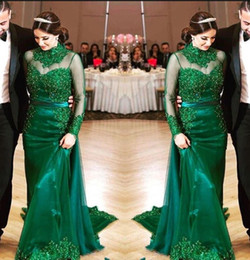 Wholesale Mother Bride Dresses Halter - Hunter Green 2018 Evening Dresses Long Sleeves Lace Beading Sheath Formal Prom Gowns High Collar Mother Of The Bride Dress