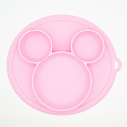 Wholesale universal tray - Wholesales 3 Colors Bear Kids Silicone Food Tray Dishes Lunch Box Dinner Plates set Household Supplies Kitchen Accessories Travel Tools