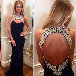 Wholesale Sex Long Gown - 2018 High Quality Beading Backless Mermaid Prom Dress Black Long Formal Evening Gowns Sex Party Dresses Custom Made