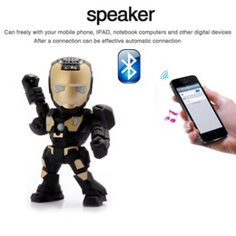 Wholesale Speaker Arm - C-89 Iron Man Bluetooth Speaker with LED Flash Light Deformed Arm Figure Robot Portable Mini Wireless Subwoofers TF FM USB Card 10pcs lot