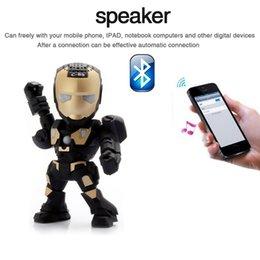 Wholesale Arm Bluetooth - C-89 Iron Man Bluetooth Speaker with LED Flash Light Deformed Arm Figure Robot Portable Mini Wireless Subwoofers TF FM USB Card 10pcs lot