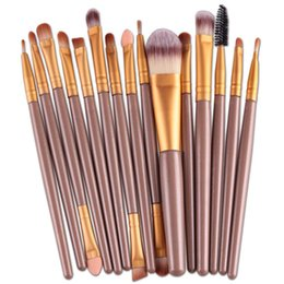 Wholesale Pink Tool Case - New Professional 15 PCS Makeup Brushes Set Tools Make-up Toiletry Kit Make Up Brush Set Case Cosmetic Foundation Brush