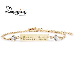 Wholesale Names Bar - Wholesale- DUOYING Crystal Baby Bracelet Gold Color 25*6 mm Bar Personalized Custom Name Engraved Bracelet Graduation Gift Jewelry for Etsy