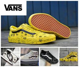 Wholesale high tops canvas shoe sneakers - 2018 VANS Peanuts Men Women Canvas Shoes Snoopy Cartoon Comic Pink Black Yellow Old Skool Vans Shoe High-Top Sk8-hi Casual Sneakers 36-44