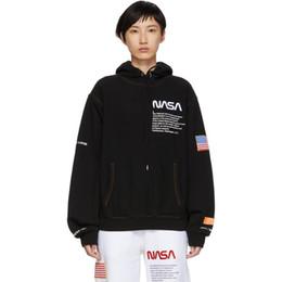 Kith x Garça Preston Cápsula NASA Moletom Com Capuz Branco Para Trás Bordado Bandeira Logotipo Astronauta Moletom Com Capuz de