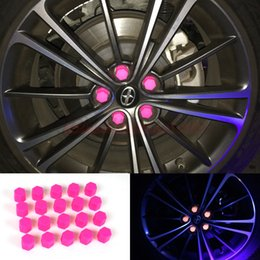 Wholesale Rims Lug - 20pcs 21mm Car Accessories Exterior Wheel Rim Lug Nut Covers Glow In The Dark PINK Car Styling Decoration