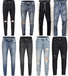 2018 NUEVA Moda Hip Hop Ripped Destroyed men Hole jeans Biker Costura de rayas blancas Bottom Side cremallera Jeans Black blue 18 style 30-36 desde fabricantes