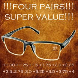 Argentina 4 pares !!! Gafas de lectura antifatiga de medio borde negro de alta calidad Gafas de moda +0.25 +0.75 +1.25 +1.75 +2.25 +2.75 +3.25 Suministro