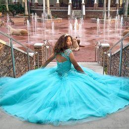 designer quinceanera vestidos Desconto Luz Azul vestido De Baile Princesa Quinceanera Vestidos Mangas Apliques Vestidos De 16 Anos Inchado Tule Vestidos de Baile Personalizado Designer HY304