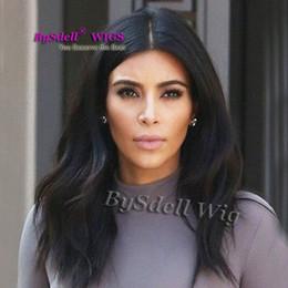 Lange haarperücken glatt online-Promi Kim Kardashian glatte lange gerade anmutige reines Menschenhaar Lace Front Cap Frauen Perücken brasilianische Remy Haar Lace Front Perücke