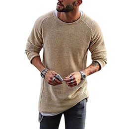 Wholesale long solid color warm knit - New Men Knitted Sweater Casual O-Neck Long Sleeve Loose Pullover Mens Winter Spring Warm Basic Sweaters Jumper Pull Homme