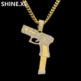 elos em forma de diamante para corrente Desconto Hip Hop Rock Iced Out Completa Lab Diamante de Prata Banhado A Ouro Pendurar Arma Forma com 24 Polegada Cuban Elo Da Cadeia para Mulheres Dos Homens