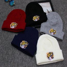 Wholesale Tiger Beanie Hat - 2017 Winter Knitted USA tiger beanies hat Men Women Warm Brand Cap For Men Women Gorras Casual chapeu brand hat Skullies dames petten czapka