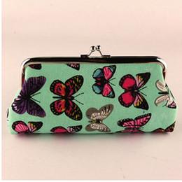 Vintage telefon grün online-XIYUAN MARKE Mode Schmetterling Druck Leinwand Student Brieftasche für Handy orcash grün lange Münze Geldbörse für Mädchen Geschenke
