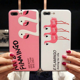 Wholesale Pink Flamingo Bird - For Iphone X Phone Cases Flamingo Cartoon Pink Bird Creative Embossed Painting Cell Phone Case For Iphone 6 7 8 Plus