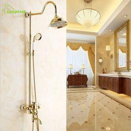 Wholesale Golden Bathroom Accessories - Golden Shower Set Europe Antique Shower Head Brass Suit Hot And Cold Bathroom Hardware Accessories